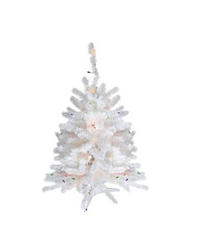 "18"" Pre-Lit Snow White Artificial Christmas Tree - Multi-Color Lights"
