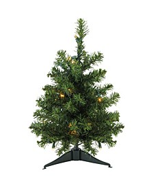 """18"""" Pre-Lit LED Canadian Pine Artificial Christmas Tree - Clear Lights"""