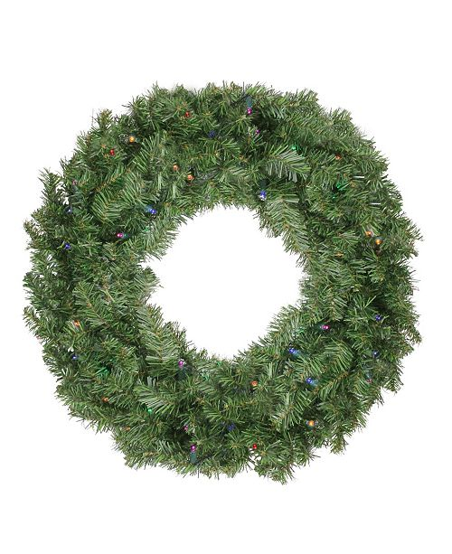 "Northlight 24""  Pre-Lit LED Canadian Pine Artificial Christmas Wreath with Timer - Multi Lights"