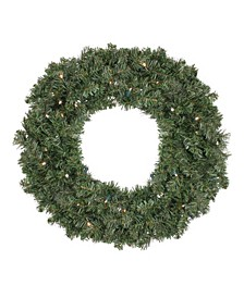 """24""""  Pre-Lit LED Canadian Pine Artificial Christmas Wreath - Clear Lights"""
