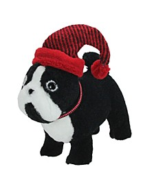 """11.5"""" Black and White Plush Standing Bulldog with Red Hat Christmas Decoration"""