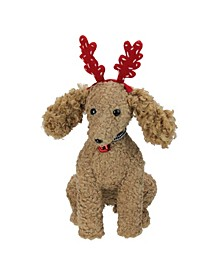 """14.5"""" Plush Tan Bichon Frisé Puppy Dog with Red Antlers Christmas Decoration"""