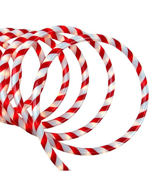 Northlight 18' Red and White Candy Cane Striped Christmas Rope Light