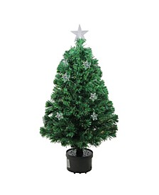 4' Pre-Lit Fiber Optic Artificial Christmas Tree with Stars