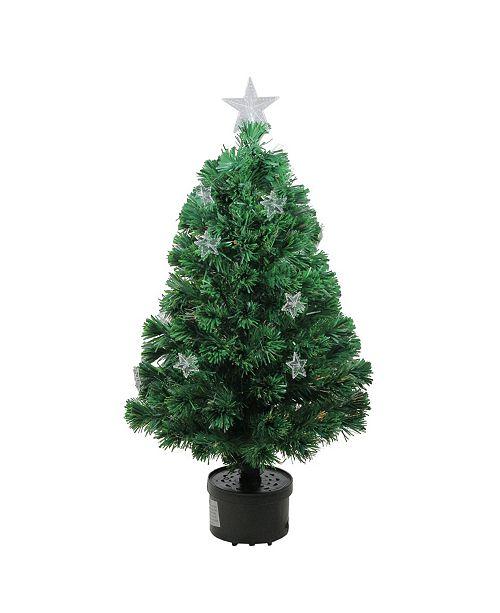Northlight Pre-Lit Fiber Optic Artificial Christmas Tree with Stars
