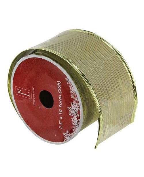 "Northlight Shimmery Gold Horizontal Wired Christmas Craft Ribbon 2.5"" x 10 Yards"