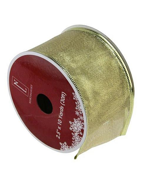 """Northlight Textured Gold Wired Christmas Craft Ribbon 2.5"""" x 10 Yards"""