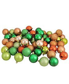 "60ct Almond/Kiwi/Burnt Orange/Xmas Green Shatterproof 3-Finish Christmas Ball Ornaments 2.5"""