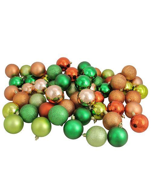 "Northlight 60ct Almond/Kiwi/Burnt Orange/Xmas Green Shatterproof 3-Finish Christmas Ball Ornaments 2.5"""