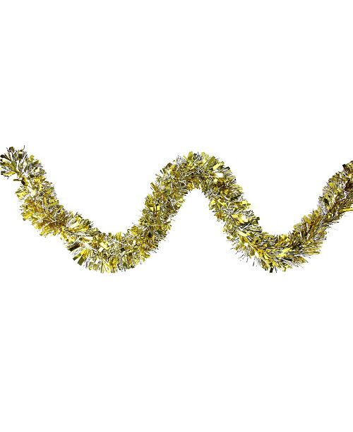Northlight 12' Soft Gold and Silver Wide Cut Christmas Tinsel Garland - Unlit