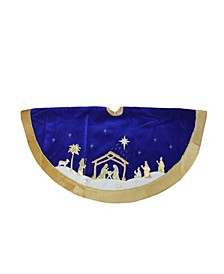 Blue and Gold-Tone Nativity Scene Christmas Tree Skirt with Gold-Tone Border