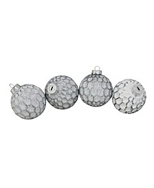 """4ct White and Gray Matte Honeycomb Pattern Christmas Glass Ball Ornaments 3.25"""" 80mm"""