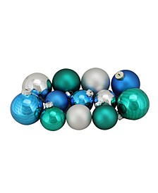 96ct Turquoise Blue and Silver Shiny and Matte Glass Ball Christmas Ornaments 2.5-3.25""