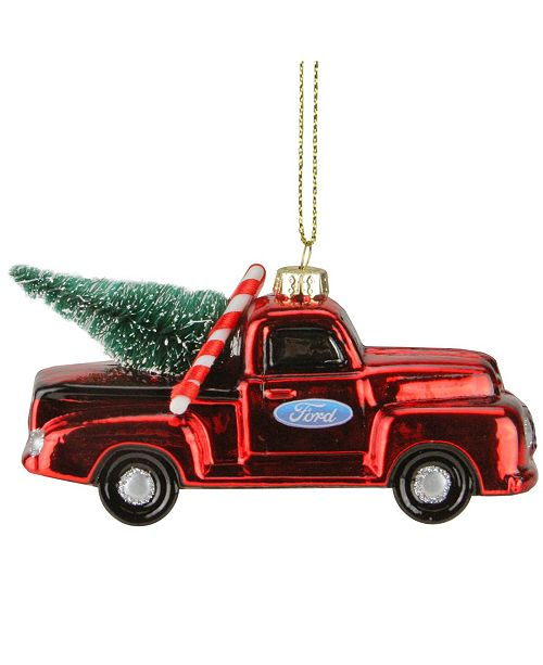 Northlight Ford Truck with Christmas Tree Glass ornament