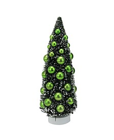 "12"" Dark Green Sisal Christmas Tree with Ornaments Table Top Decoration"