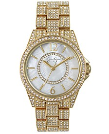Women's Crystal Encrusted Gold Plated Bracelet Watch 36mm