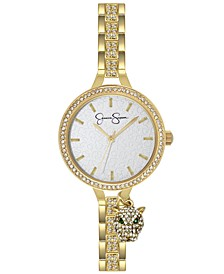 Women's Pave Crystal Panther Charm Gold Tone Bracelet Watch 36mm