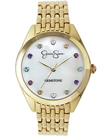 Women's Genuine Gemstone Gold Tone Bracelet Watch 37mm