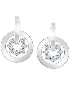 Silver-Tone Crystal Circle Drop Earrings