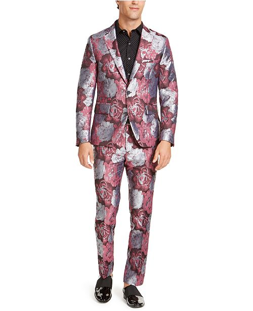 INC International Concepts INC Men's Rose Jacquard Suit Seperates, Created For Macy's