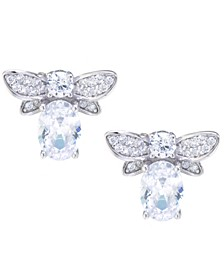 Clear Cubic Zirconia Bumble Bee Earrings in Sterling Silver