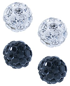 Crystal 4mm 2-Pc Set Pave Stud Earrings in Sterling Silver, Available in Black and White or Red and White
