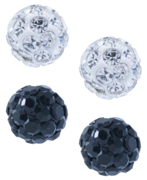 Crystal 4mm 2-Pc Set Pave Stud Earrings in Sterling Silver