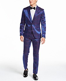 INC Men's Iridescent Plaid Suit Separates, Created For Macy's