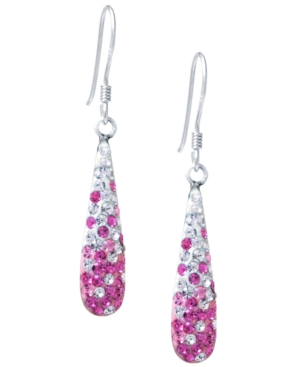 Pave Two Tone Crystal Teardrop Earrings Set in Sterling Silver. Available in Clear and Blue