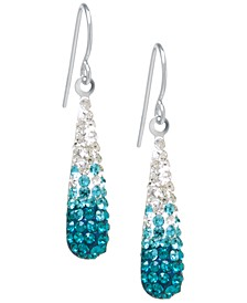 Pave Two Tone Crystal Teardrop Earrings Set in Sterling Silver. Available in Clear and Blue, Clear and Black, Clear and Pink or Clear and Red