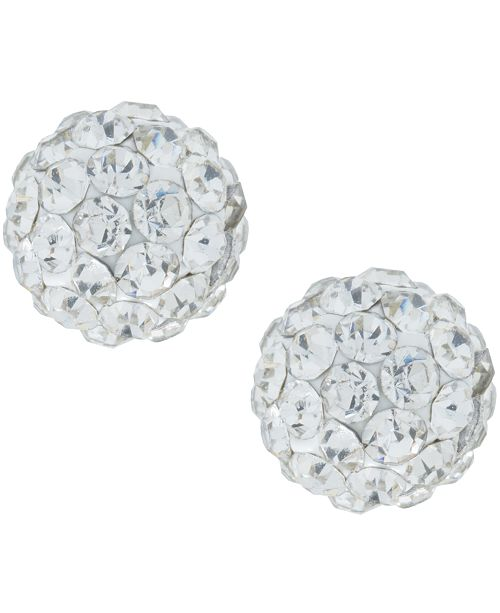 Macy's Crystal 6mm Pave Stud Earrings in Sterling Silver. Available in Clear, Blue or Red