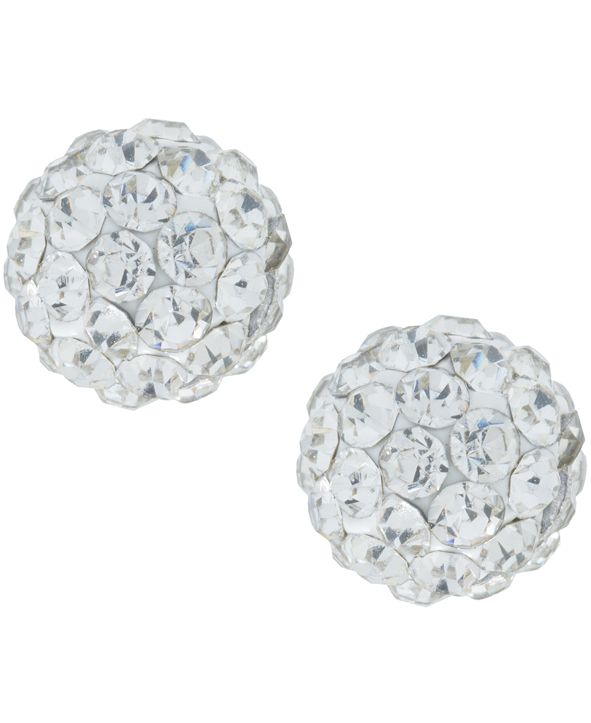 Giani Bernini Crystal 6mm Pave Stud Earrings in Sterling Silver. Available in Clear, Blue or Red
