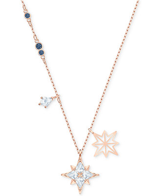 "Rose Gold Tone Crystal Star Pendant Necklace, 14 7/8"" + 2"" Extender by General"