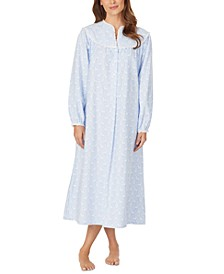 Cotton Lace-Trim Flannel Nightgown