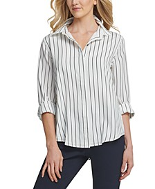 Striped Cuffed-Sleeve Blouse
