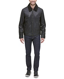 Men's Leather Aviator Jacket with Faux Sherpa Collar
