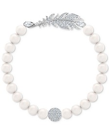 Remix Silver-Tone Feather & Imitation Pearl Magnetic Bracelet