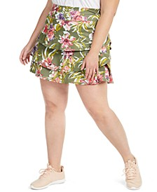 Plus Size Floral-Print Ruffled Skort, Created for Macy's