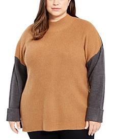Plus Size Tri-Color Mock-Neck Sweater