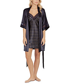 Linea Donatella Satin Chemise Nightgown & Wrap 2pc Set