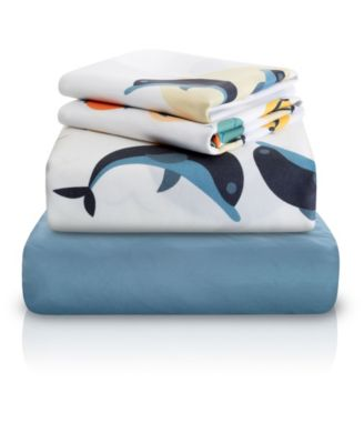 Dolphin Fish Print Double-Brushed Microfiber 4 Piece Full Sheet Set