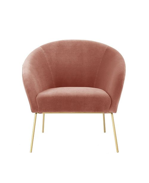 Nicole Miller Catriona Velvet Barrel Accent Chair with Metal Legs