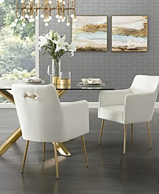 Christine Arm Dining Chair with Metal Legs and Knob Set of 2