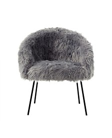 Ana Faux Fur Accent Chair with Metal Legs