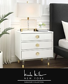 Nicole Miller Alienor 3-Drawer High Gloss Nightstand with Acrylic Legs