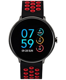Men's Black & Red Silicone Strap Touchscreen Sport Smart Watch 43.2mm