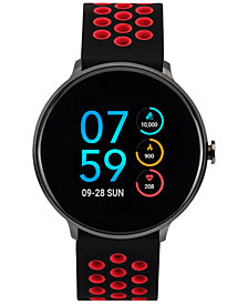 iTouch Men's Black & Red Silicone Strap Touchscreen Sport Smart Watch 43.2mm
