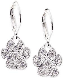 Silver-Tone Pavé Paw Drop Earrings