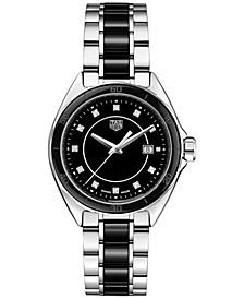 Women's Swiss Formula 1 Diamond (1/20th ct. t.w.) Stainless Steel & Black Ceramic Bracelet Watch 32mm