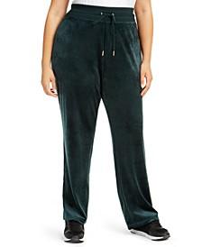 Plus Size Velour Wide-Leg Pants